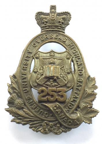 253rd (Queen's University Highland Bn.) scarce CEF WW1 glengarry bad