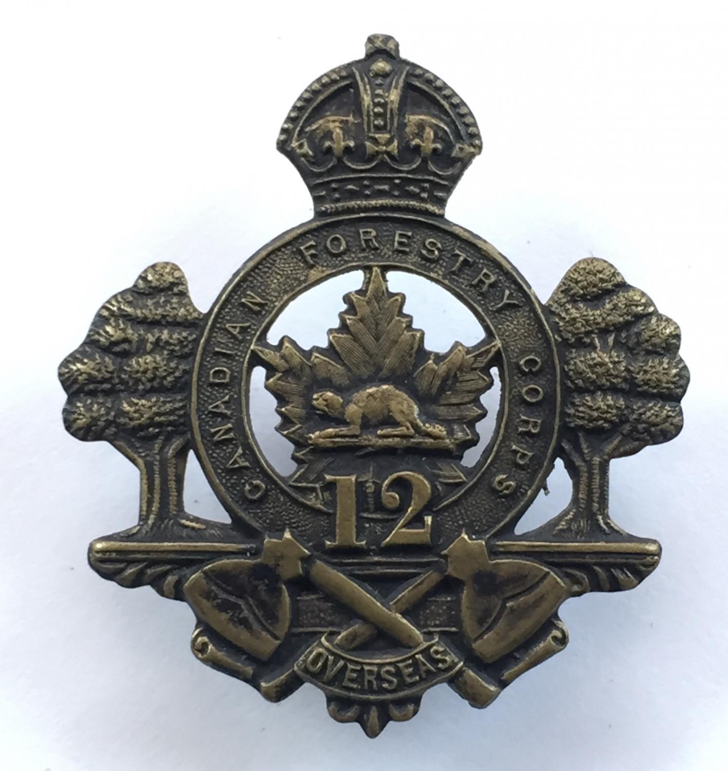 Canadian 12th Forestry Corps CEF WW1 cap badge