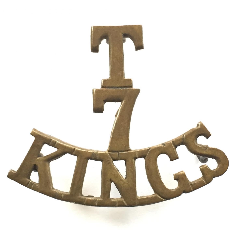 T / 7 / KING's brass shoulder title