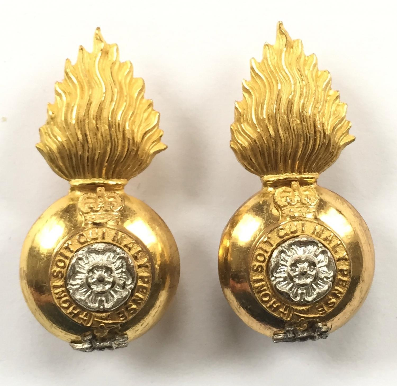 Royal Fusiliers pair of post 1953 Officer's collar badges