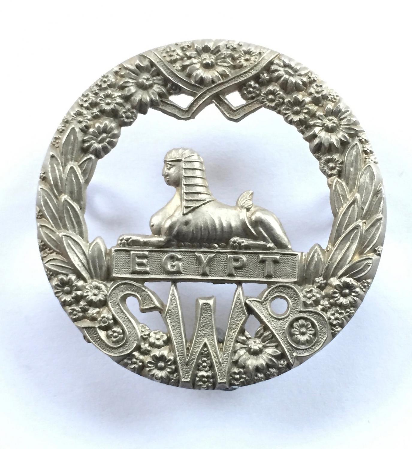 South Wales Borderers white metal cap badge
