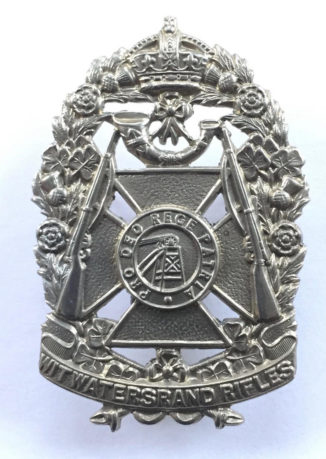 Witwatersrand Rifles white metal cap badge