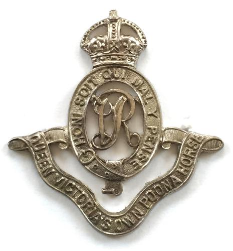 Poona Horse  Officer's silvered cap badge.
