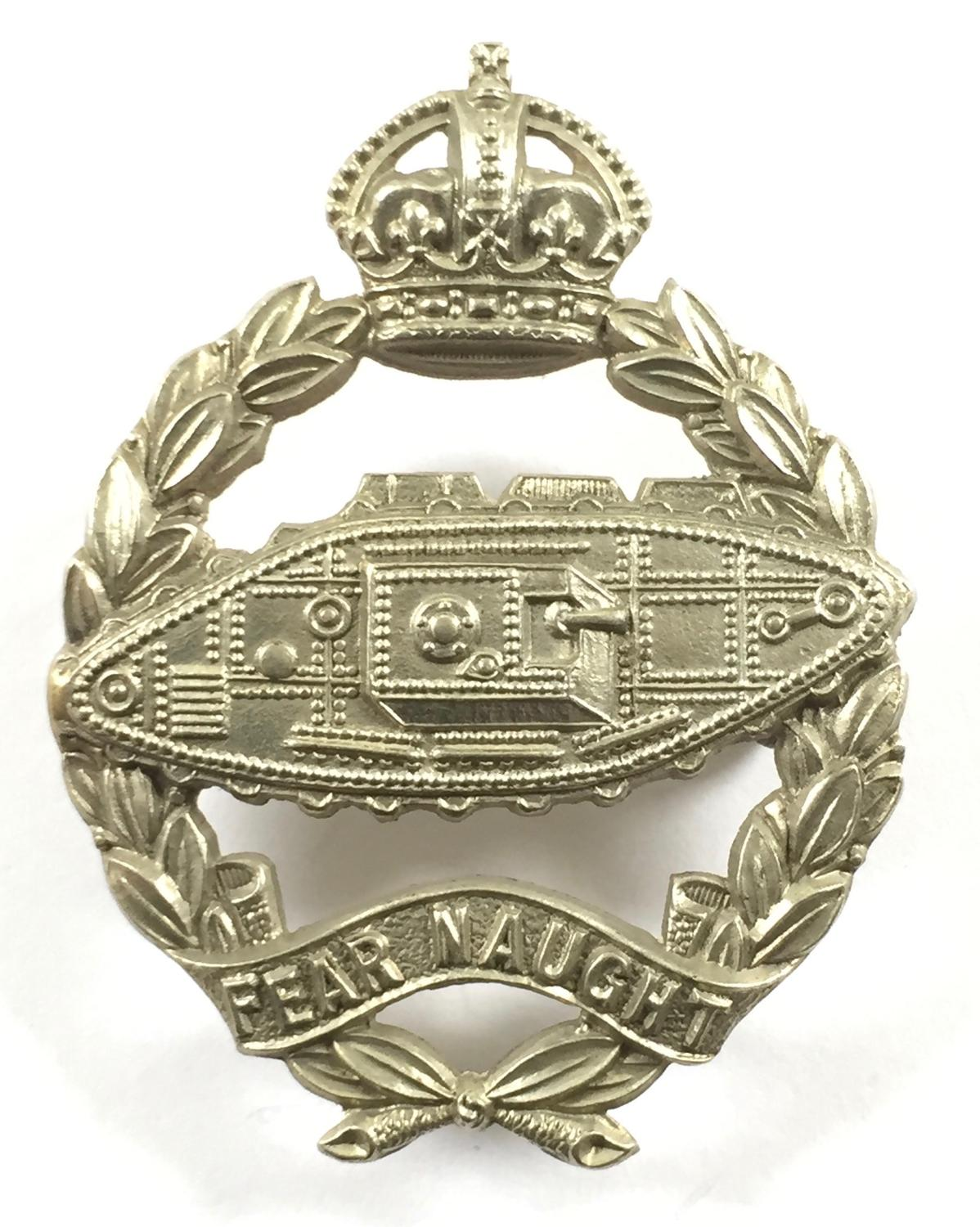 Royal Tank Corps scarce 1924 white metal beret badge.