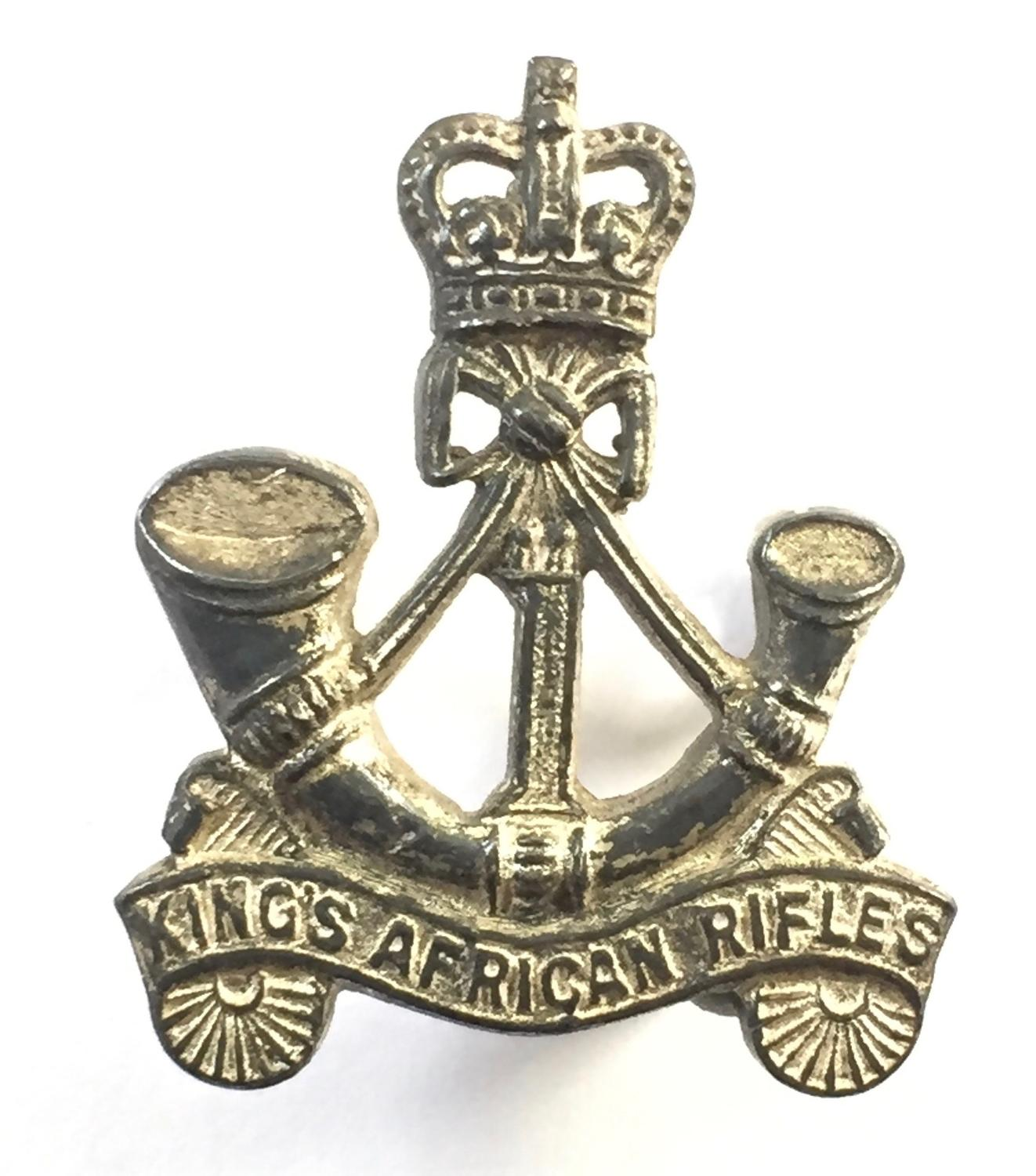 1st King's African Rifles Officer's silver cap badge.