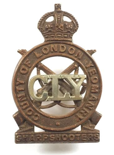 CLY Sharpshooters OR's bi-metal cap badge
