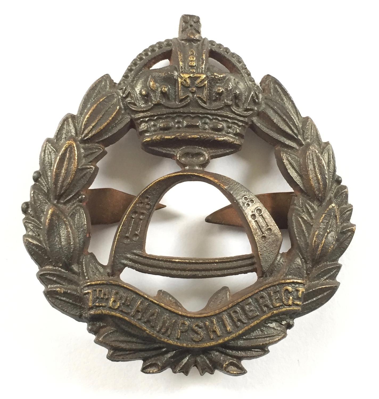 7th Bn. Hampshire Regiment rare OSD bronze cap badge.