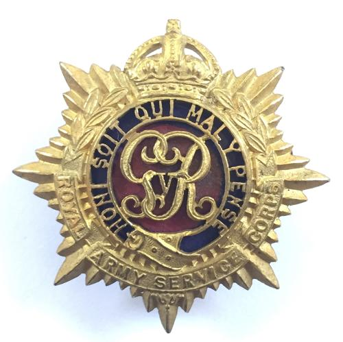 RASC Officers's gilt & enamel cap badge