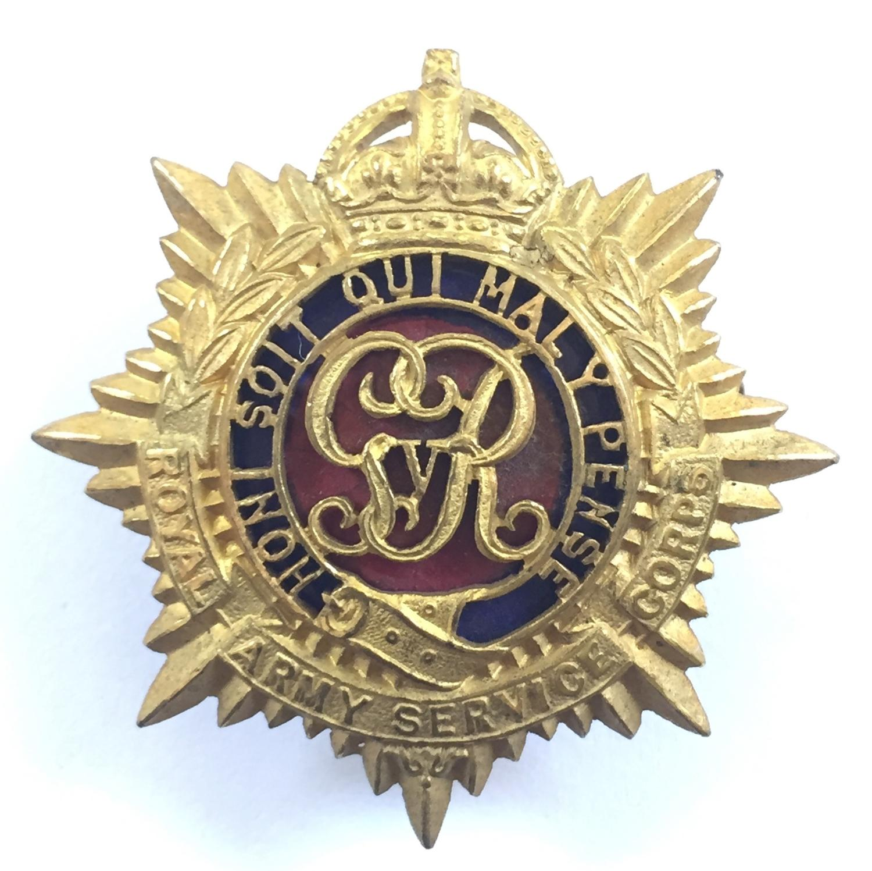 RASC Officers's gilt & enamel cap badge