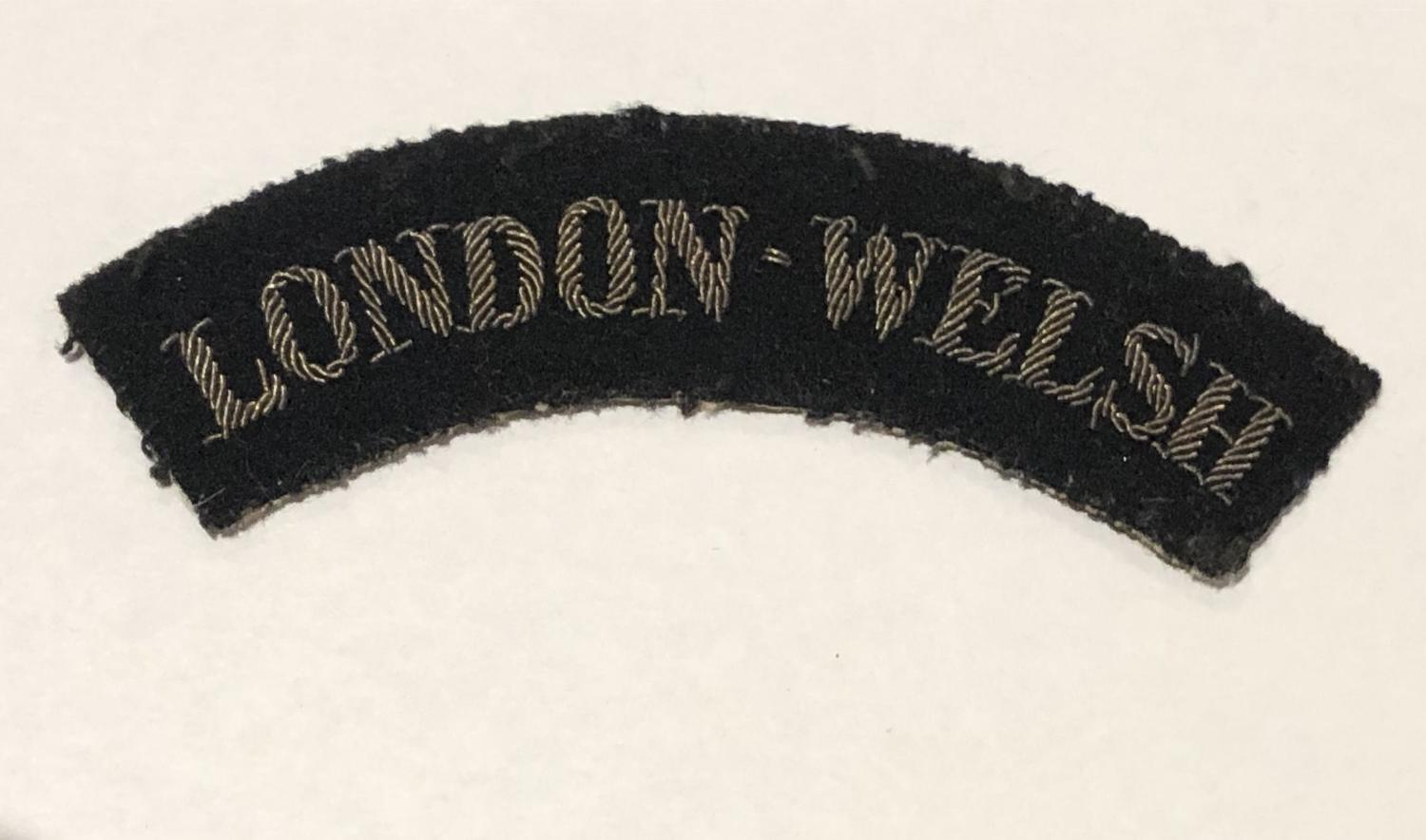 LONDON WELSH rare 99th AA Regt. RA rare WW2 shoulder title.