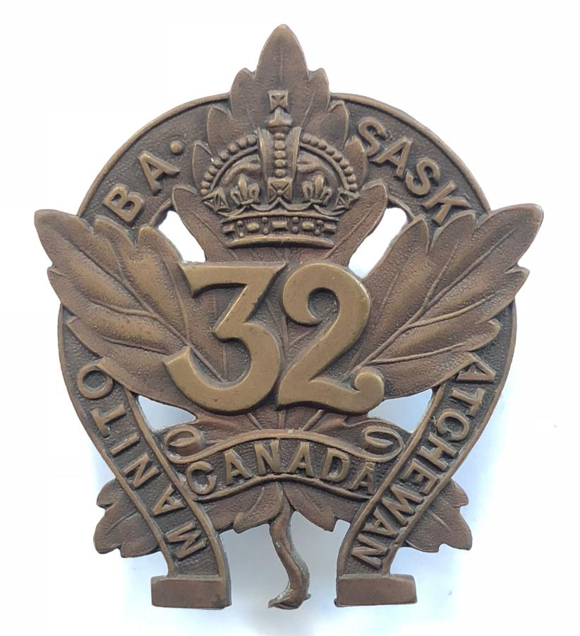 Canadian 32nd Bn. CEF WW1 bronze cap badge