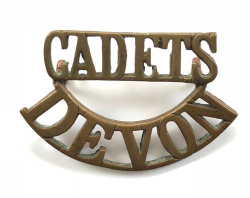 CADETS/DEVON scarce brass shoulder title