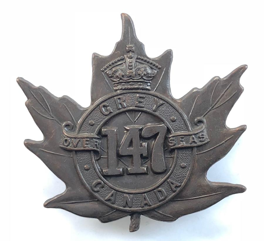 Canadian 147th (Grey) Bn. WW1 CEF bronze cap badge.