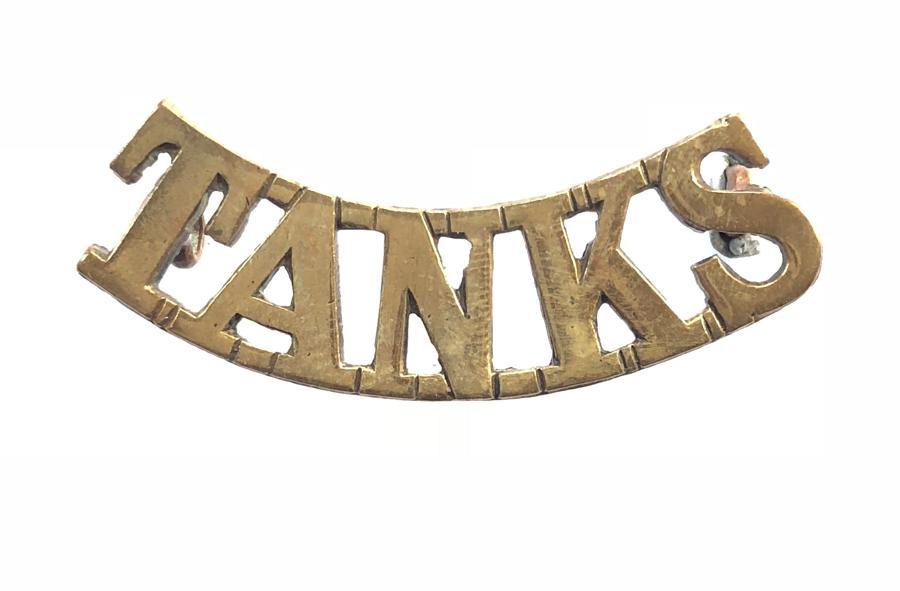 TANKS WWI Tank Corps brass shoulder title.