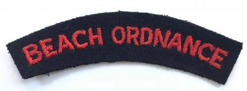 BEACH ORDNANCE scarce WW2 cloth shoulder title.