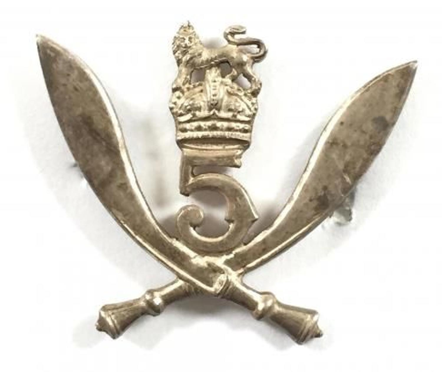 5th Gurkha Rifles WW2 1944 Birmingham hallmarked silver cap badge