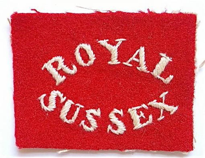 Royal Sussex Regiment Foreign Service cloth helmet pagri badge.
