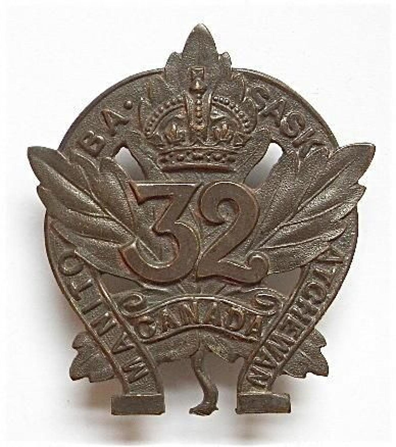 WW1 Canadian CEF 32nd Bn bronze cap badgeadge.