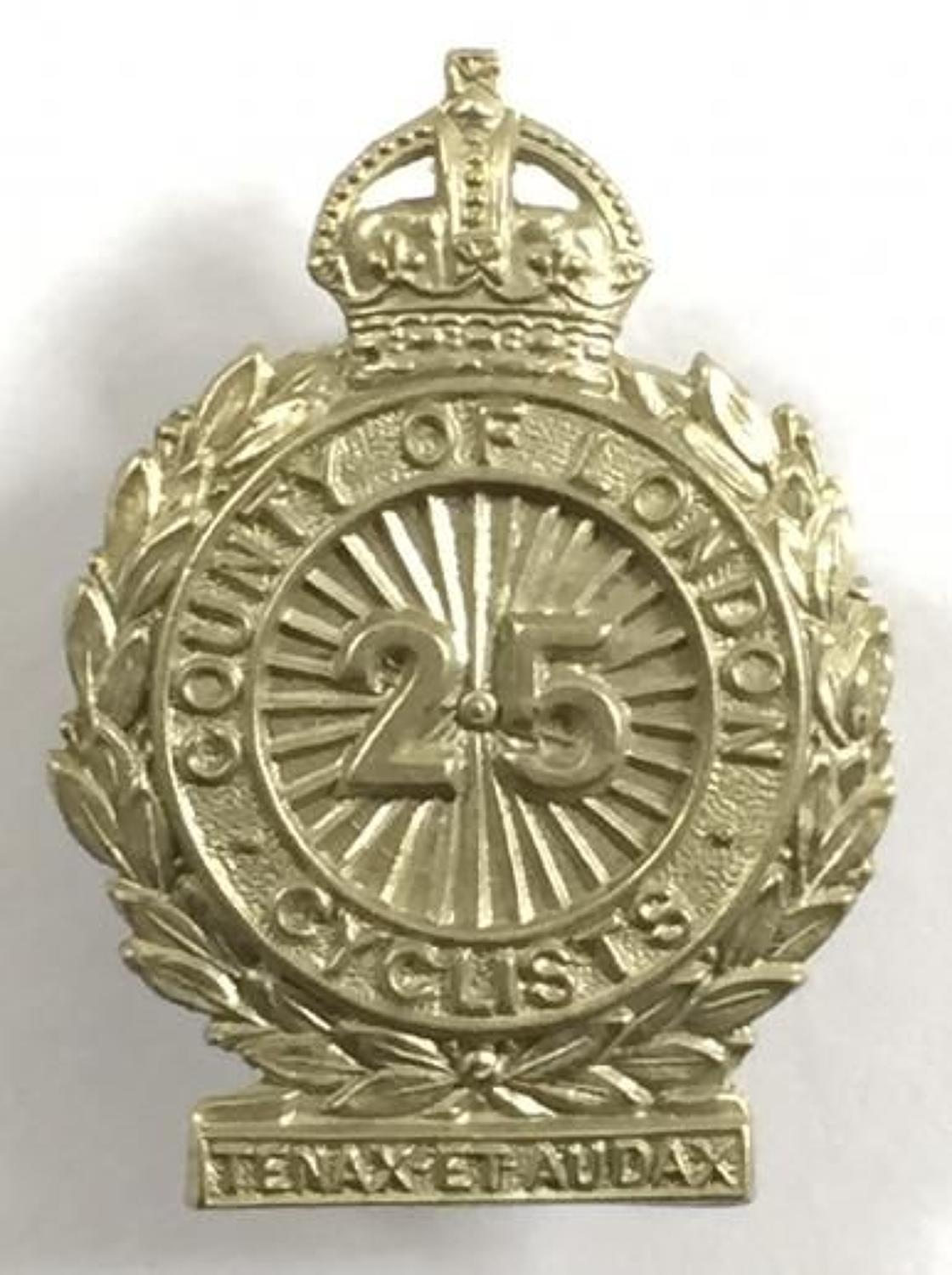 25th (Cyclist) Bn County of London Regiment Field Service Cap / Collar