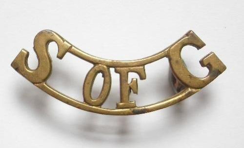 S OF G pre 1920 School of Gunnery brass shoulder title.