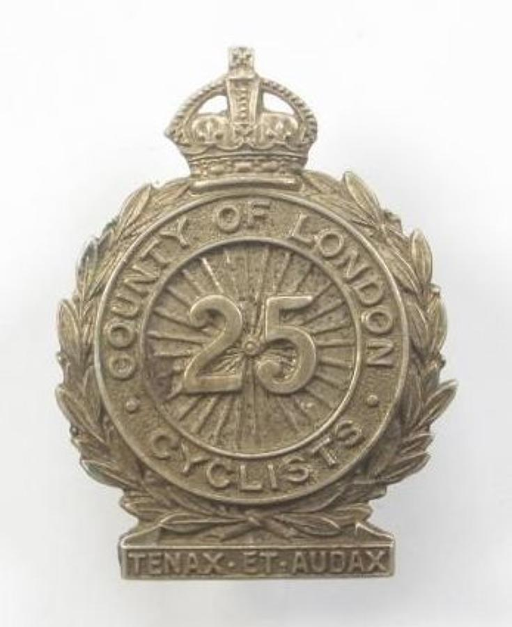 25th (Cyclist) Bn County of London Regiment cap badge.