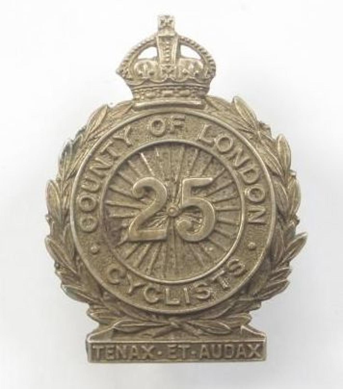 25th (Cyclist) Bn County of London Regiment cap badge.