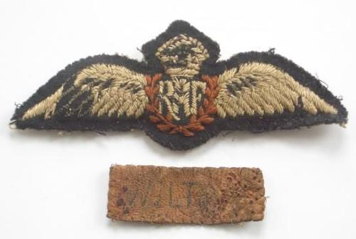 WW2 RAF Pilots Wings and Leather Name Tag.