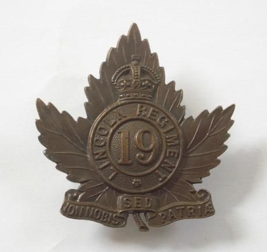 Canadian 19th Lincoln Regiment cap badge  by JR Gaunt & Son, London.