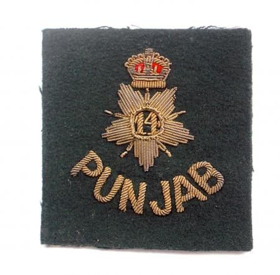 Indian Army. 14th Punjab Regiment Officer's bullion pagri badge.