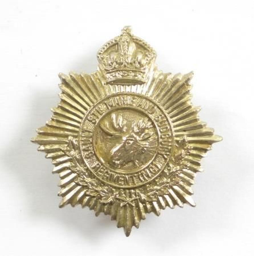 Canadian The Sault Ste. Marie & Sudbury Regiment Cap Badge,.