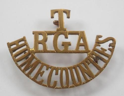 T / RGA / HOME COUNTIES scarce Kent Heavy Battery Brass Shouther Title. circa 1908-21.
