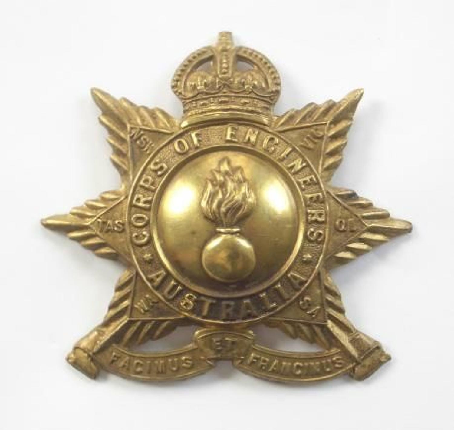Australian Corps of Engineers head-dress badge circa 1902-12