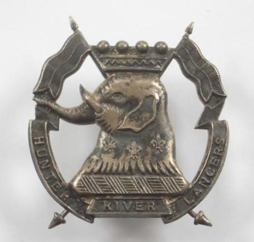 Australian 12th/16th Hunter River Lancers silvered slouch hat badge by C. Luck of Melbourne.