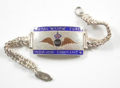 Royal Air Force RAF India Command Silver & Enamel ID Identification Bracelet
