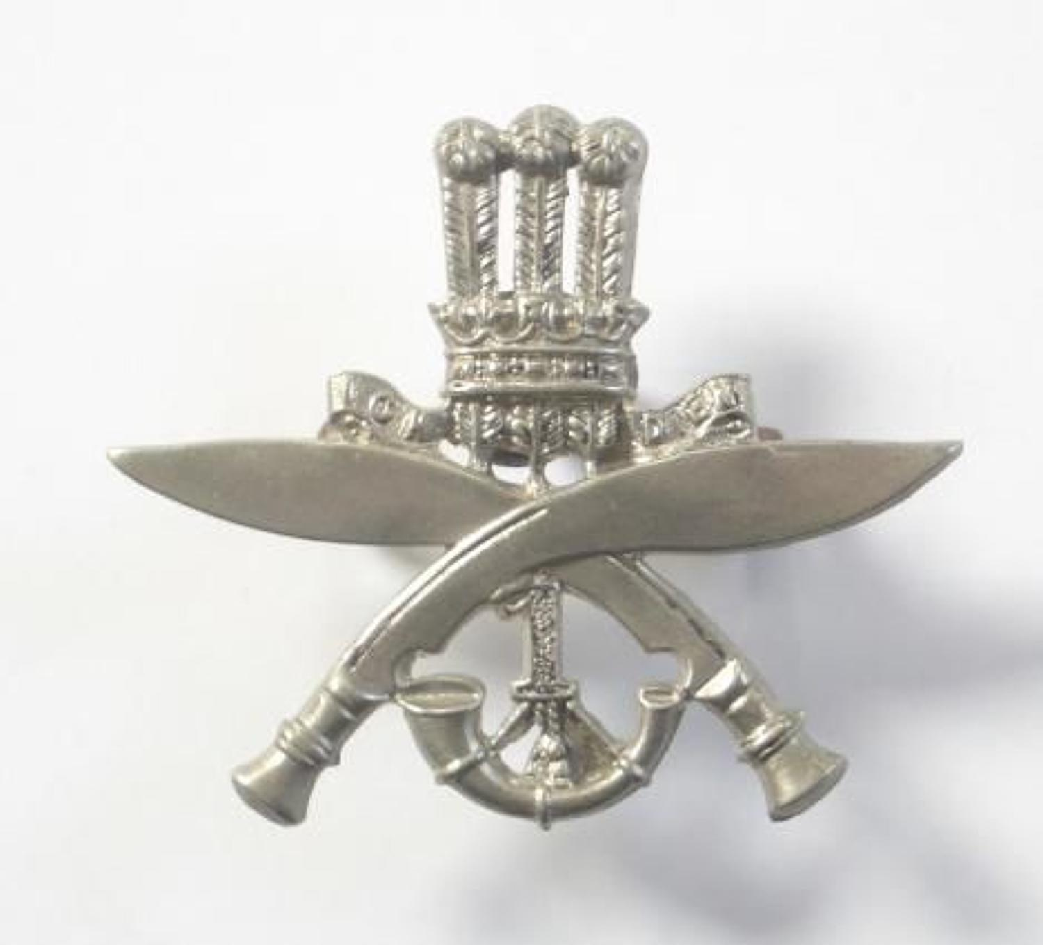 1st Gurkha Rifles white metal cap badge.