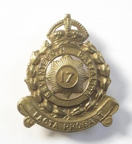 17th Australian Infantry Bn. (North Sydney Regt.) brass slouch hat badge.