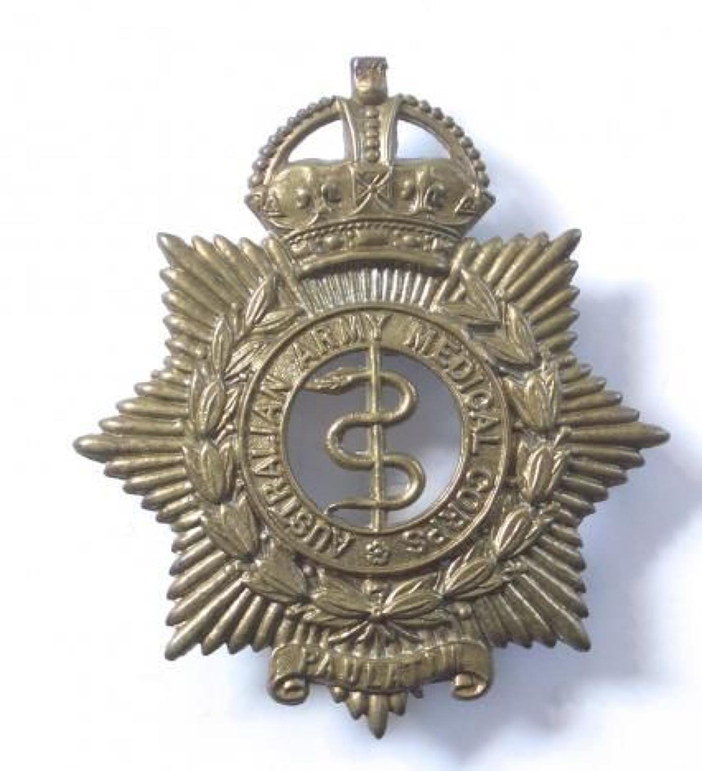 Australian Army Medical Corps OR's slouch hat badge circa 1930-42.