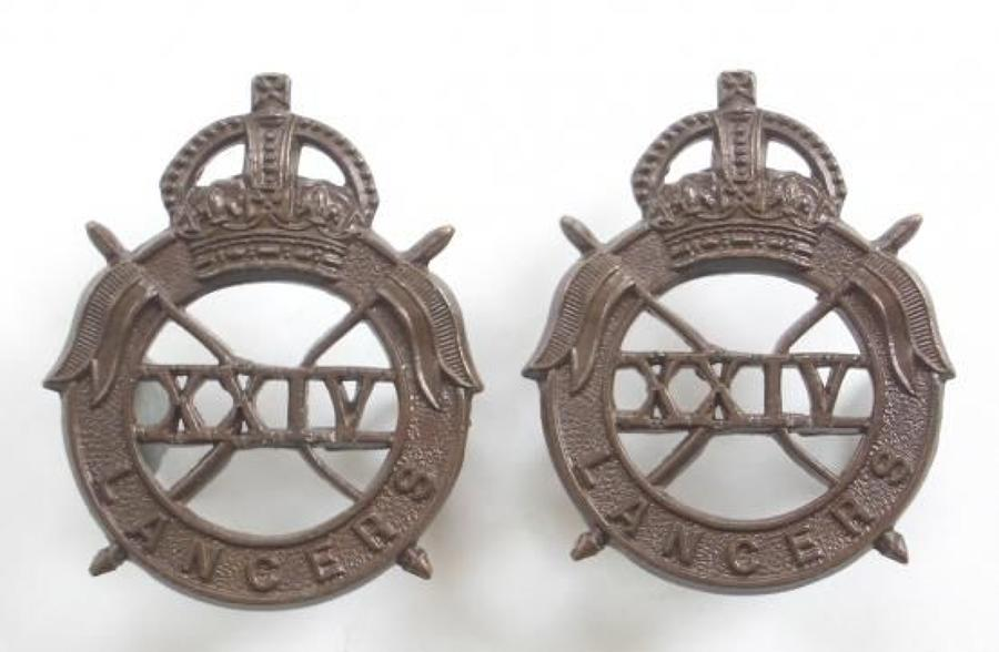 24th Lancers scarce WW2 pair of OSD bronze collar badges.