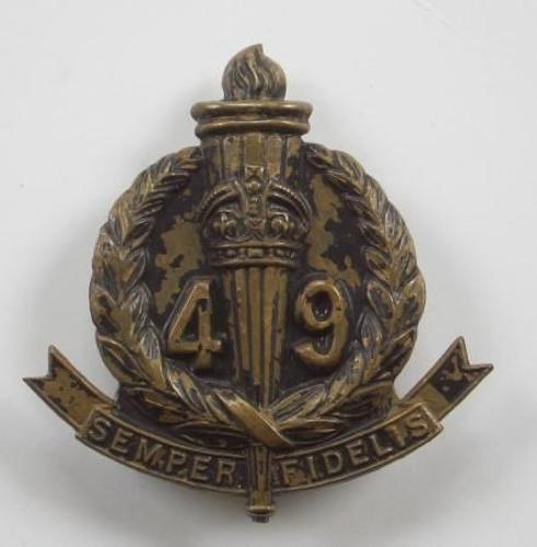 The Stanley Regt. 49th Australian Infantry Battalion brass slouch hat badge circa 1930-42.