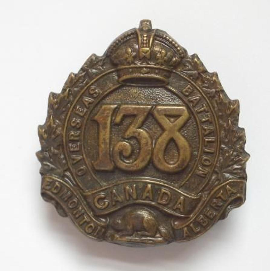 Canadian 138th (Edmonton) Bn. CEF WW1 cap Badge by Jackson Bros.