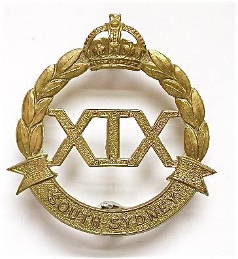 Australian 19th (South Sydney) Infantry 1930's Slouch Hat Badge.