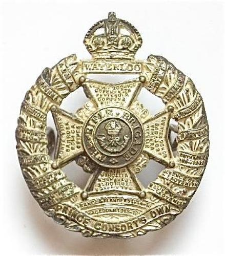 Rifle Brigade silver plated Officer's cap badge by JR Gaunt, London.