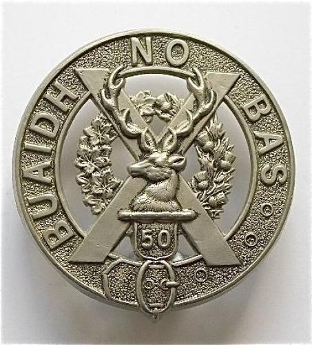 50th Regiment (Gordon Highlanders of Canada) white metal glengarry badge circa 1913-20.
