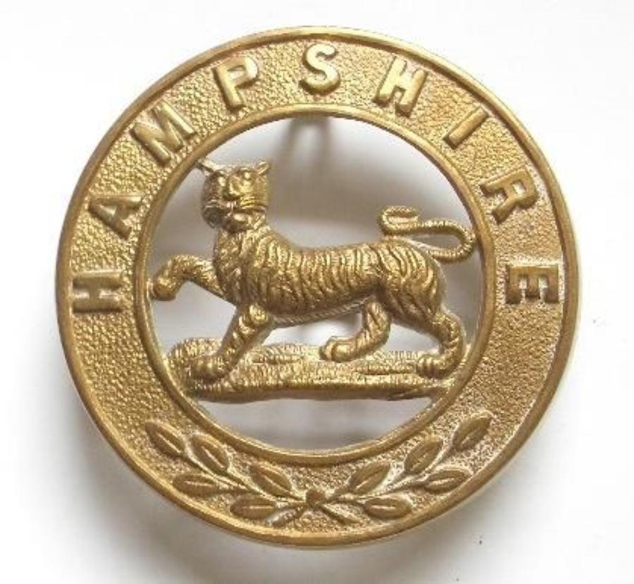 Hampshire Regiment OR's helmet plate centre circa 1881-1914..