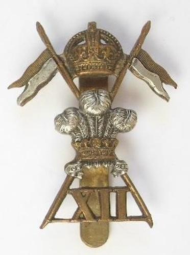 12th Royal Lancers bi-metal cap badge.