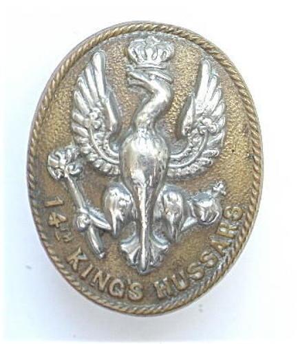 14th King's Hussars bi-metal oval cap badge circa 1896-1915.