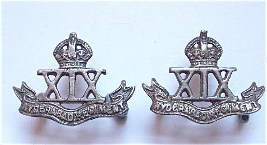 Indian Army. 19th Hyderabad Regiment pair of collar badges.