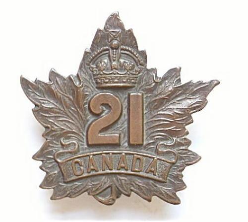 WW1 21st Bn CEF Cap Badge.