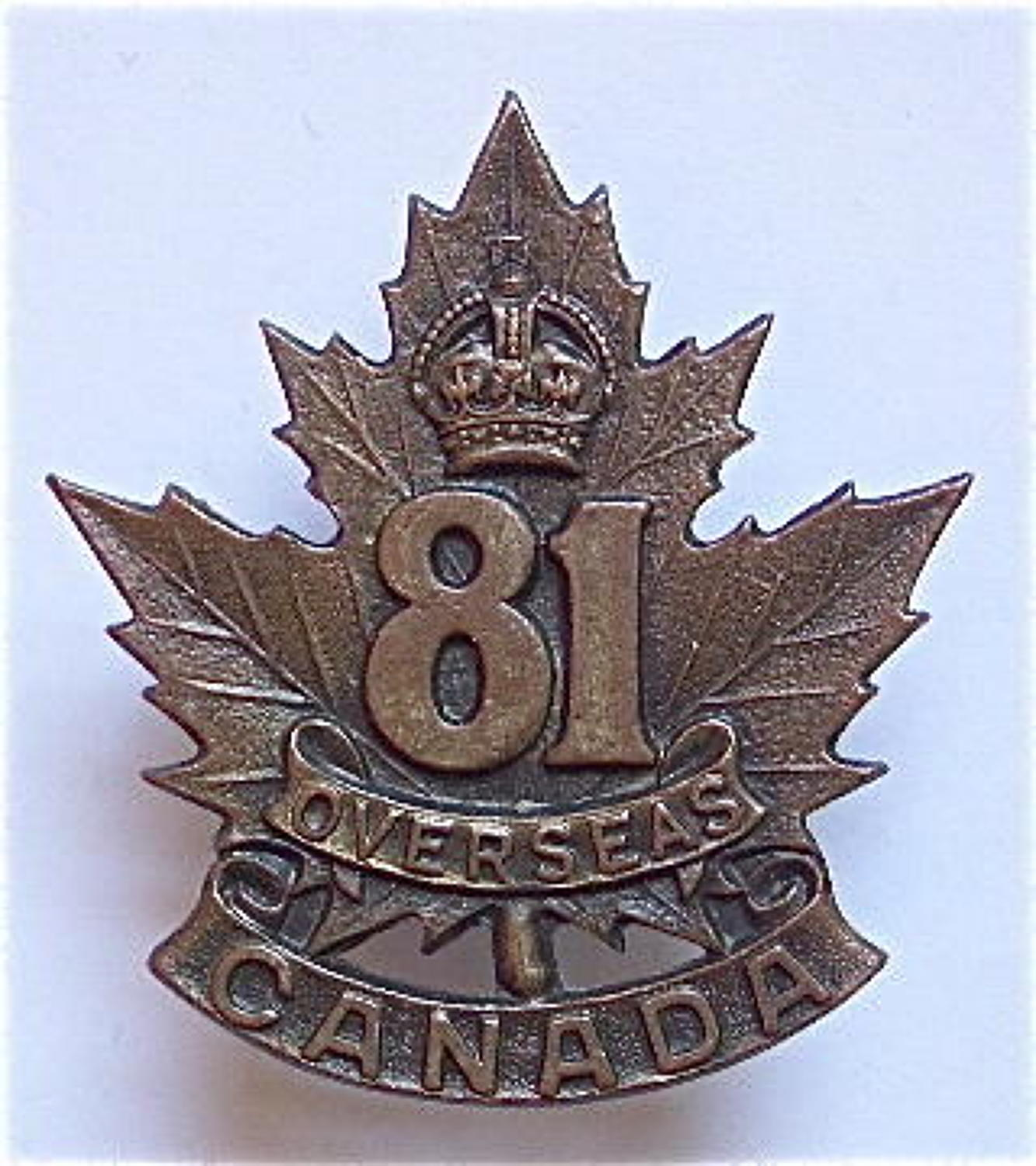Canadian WW1 81st Bn. CEF bronze cap badge.