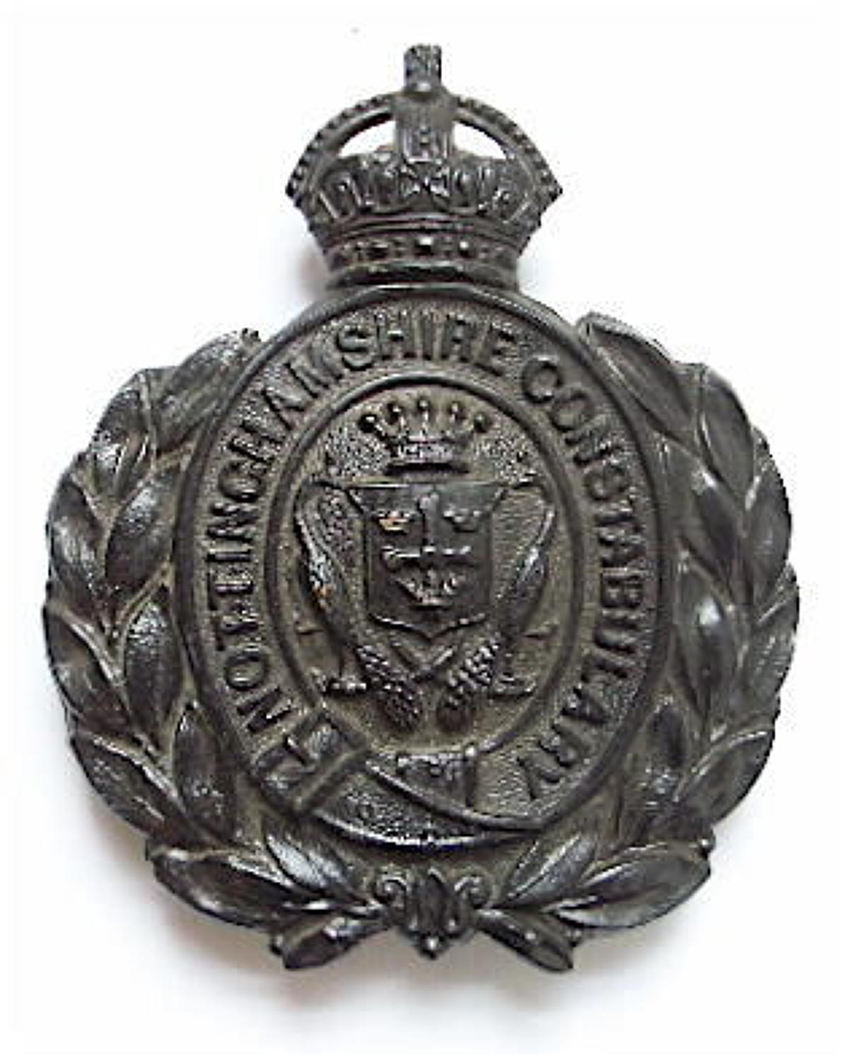 Nottinghamshire Constabulary wreath pattern police helmet plate.